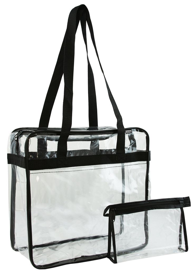 "Ensign Peak Clear NFL Zipper Tote. Approved by the NFL. Complies with PGA Tournament Guideline. Small handy accessory pouch can hold keys, change, credit cards. Easy Access Front Pocket. Bag Dimensions: 12""W x 12""H x 6""G approx."