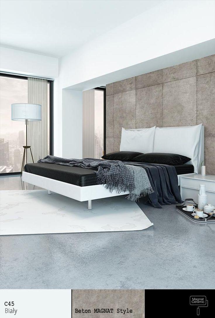 Betonowa sciana w sypialni