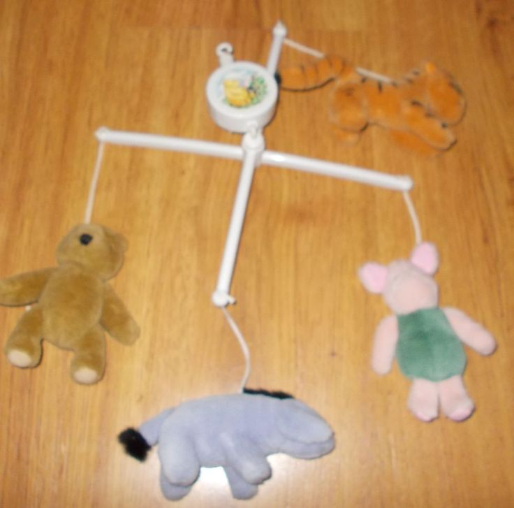 Classic Winnie the Pooh musical mobile baby's crib accessory Piglet Tigger Eyore #Disney