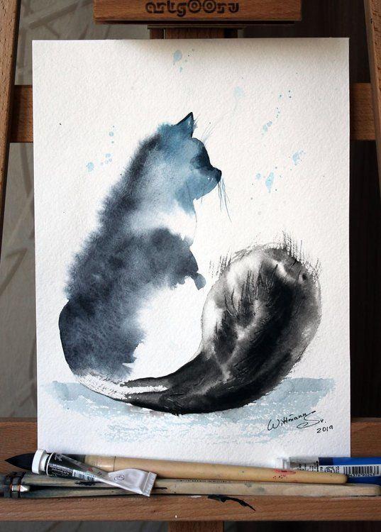 Cat Sitting 1 Animal Kitty Silhouette Portrait Original