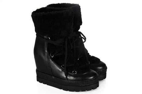 Kar Botu Siyah Dolgu Topuk Kürklü