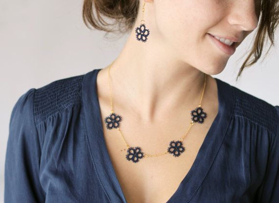 Tatted jewelry set: necklace and earrings in navy blue and gold / dainty…