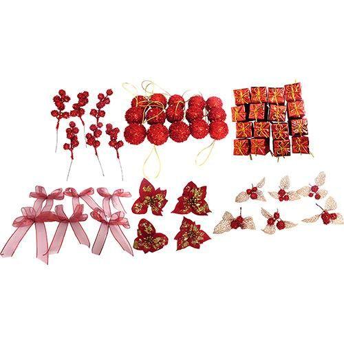 Conjunto de Enfeites de Árvore Vermelhos 59 Unidades - Orb Christmas