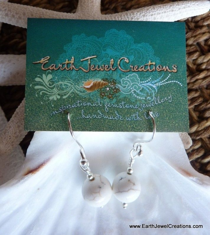 White Magnesite Gemstone Drop Earrings - Inspirational handmade gemstone jewellery Earth Jewel Creations Australia