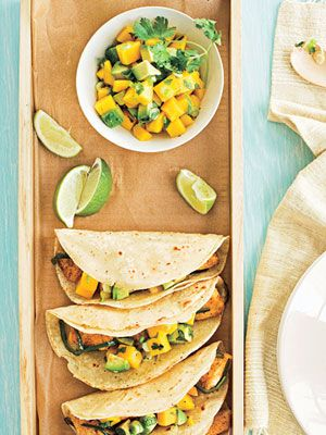 Your kids might eat fish when it's coated with spices and served in a tortilla. This no-oven meal is great for summer days. The tacos are topped with cool fruit salsa.