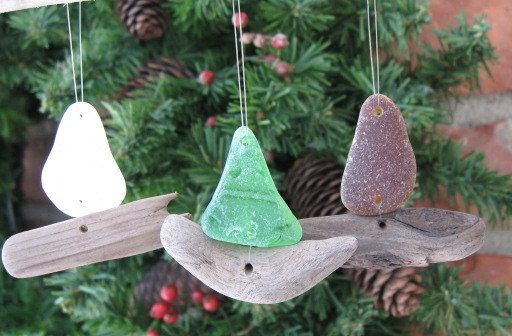 SAILBOAT BEACH ORNAMENT Sea Glass Ornament by lakehousetreasury