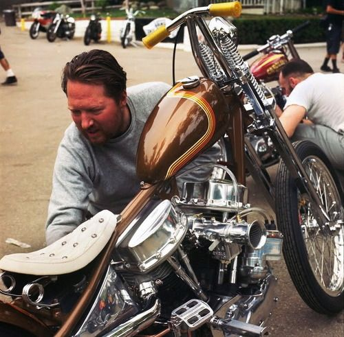 Panhead springer with an old school paint job.