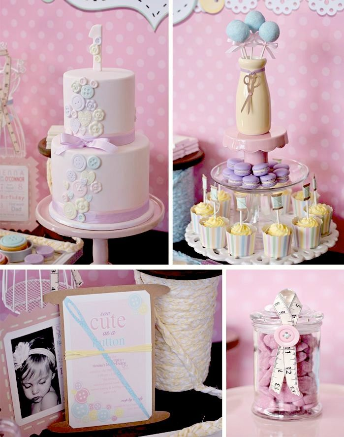 Cute as a Button 1st Birthday Party Full of REALLY CUTE Ideas via Kara's Party Ideas | Kara'sPartyIdeas.com #Girl #Party #Ideas #Supplies