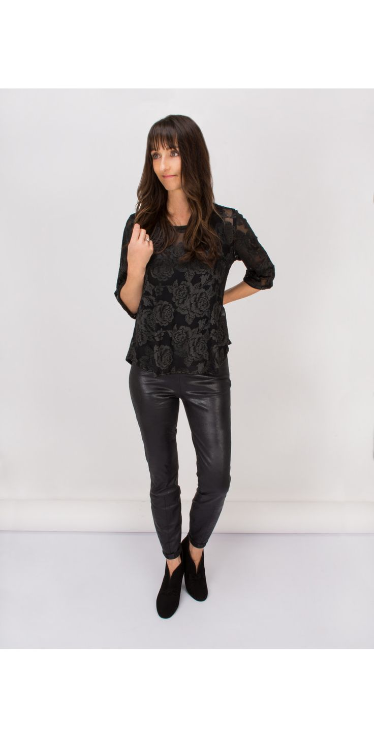 Shop the Myrine Kronos Lace Top in 5A- Black online at Gemini Woman, styled with Sandwich Clothings Faux Suede Leather Look Trousers