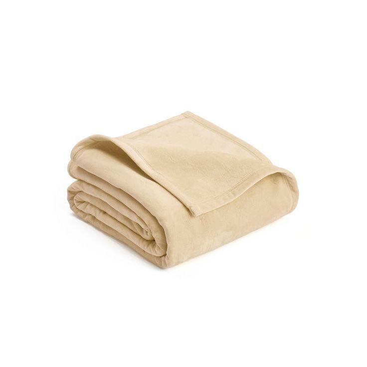 Vellux Plush Blanket, Beig/Green (Beig/Khaki)