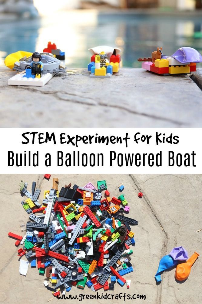 Build a balloon powered boat that travels on water. LEGO boat powered by a balloon STEM project for kids. Try building different styles...