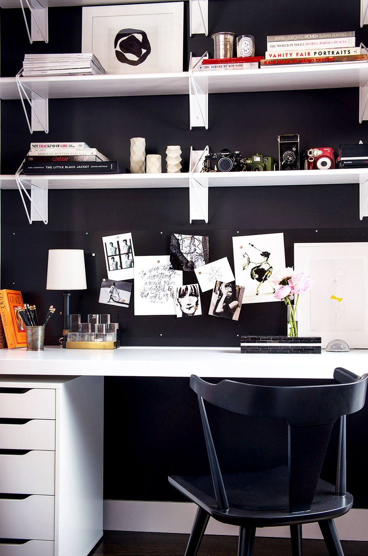Black and white office space at home