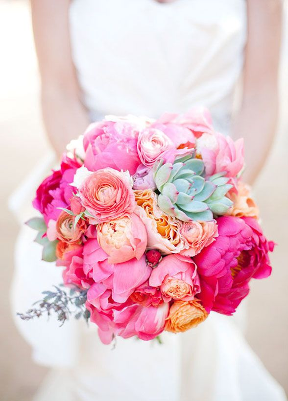 Hot pink peonies are for the bride that is ready to go bold! These bright blooms are sure to catch every guest's eye. #BridalBouquet: