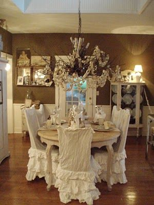 shabby chic dining room chair covers | 66 best images about Shabby~Chair Covers on Pinterest