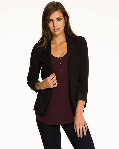 Challis Notch Collar Blazer - An open-front notch collar blazer can be a chic addition to a desk-to-dinner wardrobe.