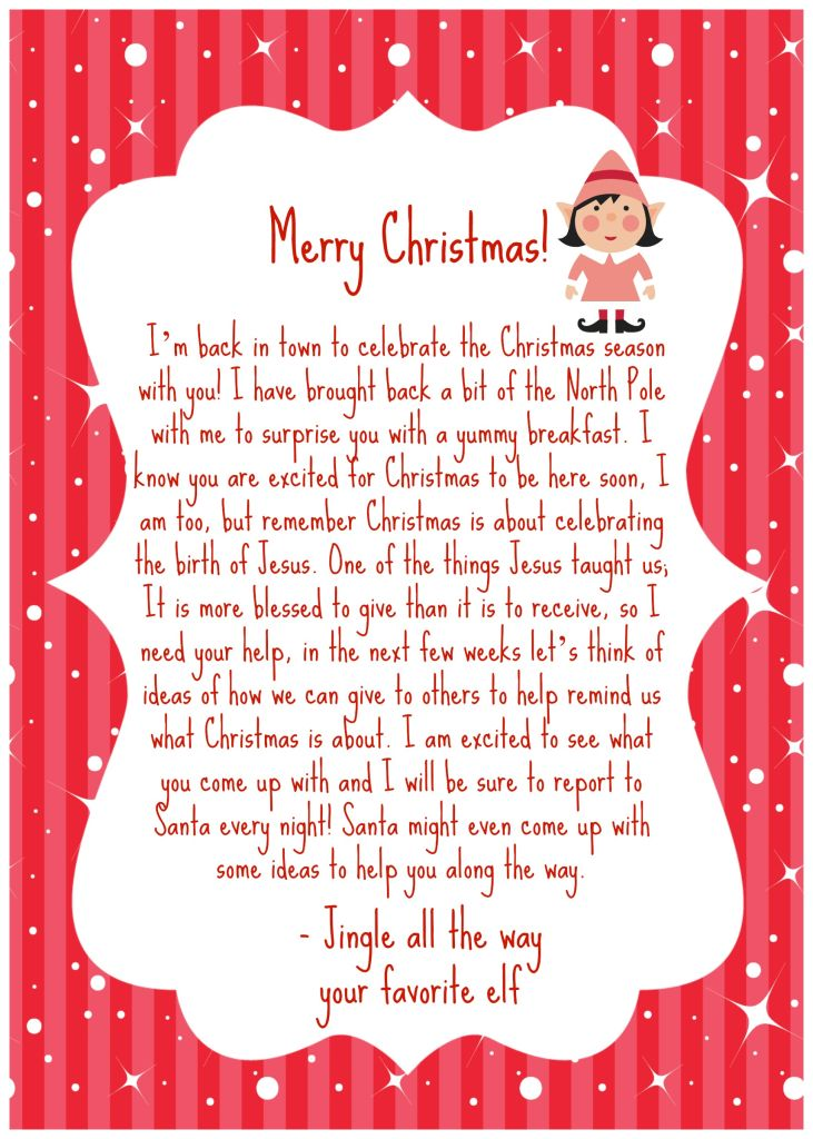 Elf on the shelf welcome back letter. North Pole Breakfast. Elf on the shelf teaching to give #Christmas #elfontheshelf #payitforward