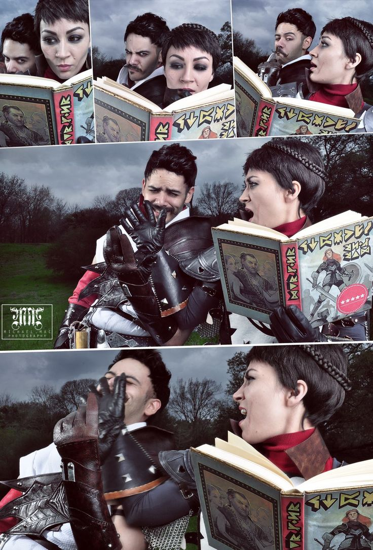 Dragon Age: Inquisition cosplay - Dorian catches Cassandra reading Varric's romance novel