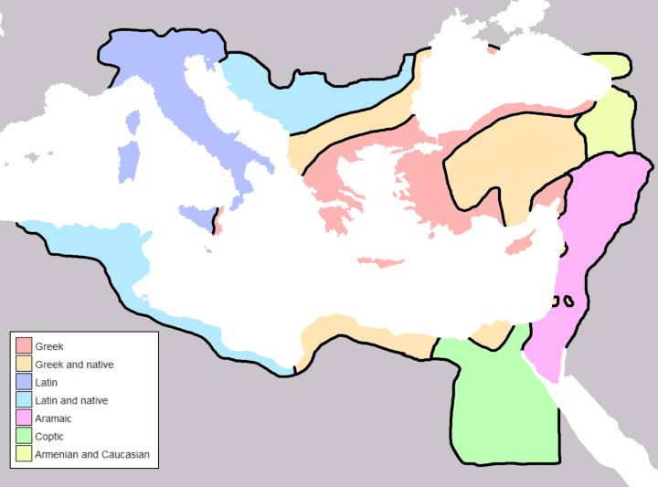 - Byzantine Empires Linguistic Divisions Under Justinian I c.560CE