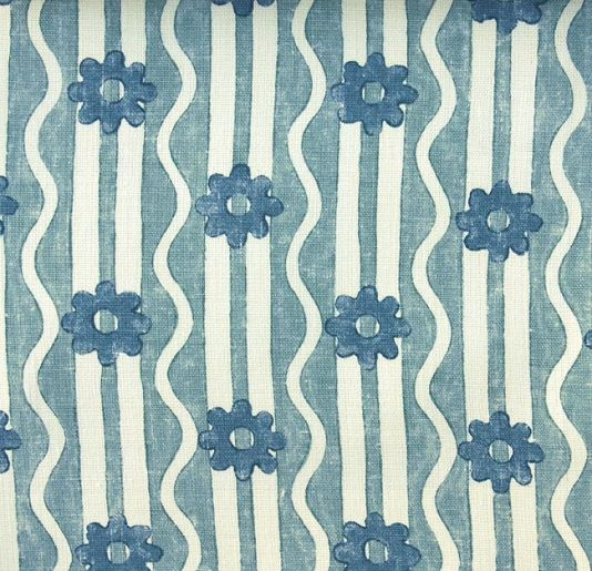 River Flower Linen Fabric Heavy off white linen with stripe and flower design in aqua and blue