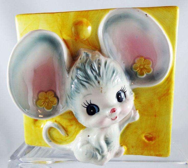 Vintage Relpo Big Eye Mouse Planter Nursery Japan Cheese 6425 Ears Rat 1950's