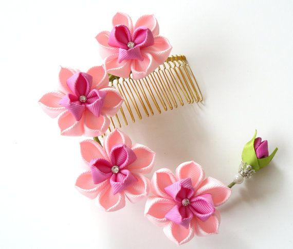Kanzashi Fabric Flower hair comb . Pink hair comb. Pink by JuLVa, $33.00