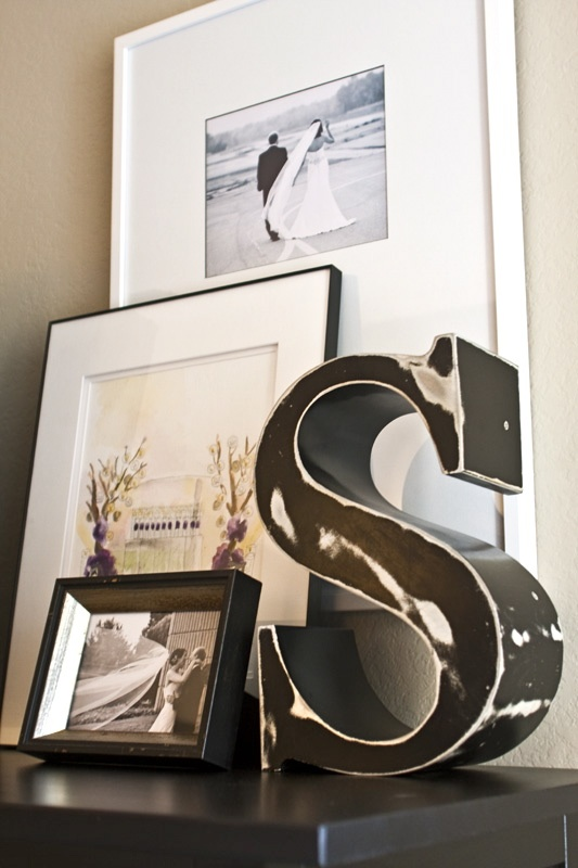 Love - initial S(Smith), 'layering' of frames just beautifully 'laying' against each other. Various heights of frames so that EACH can be seen