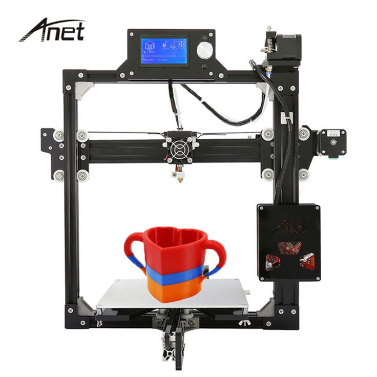 2017 Cheap 3D Printers 12864 & 2004LCD Anet A2 Desktop 3D Metal Printers Reprap Prusa i3 DIY Kit with filament