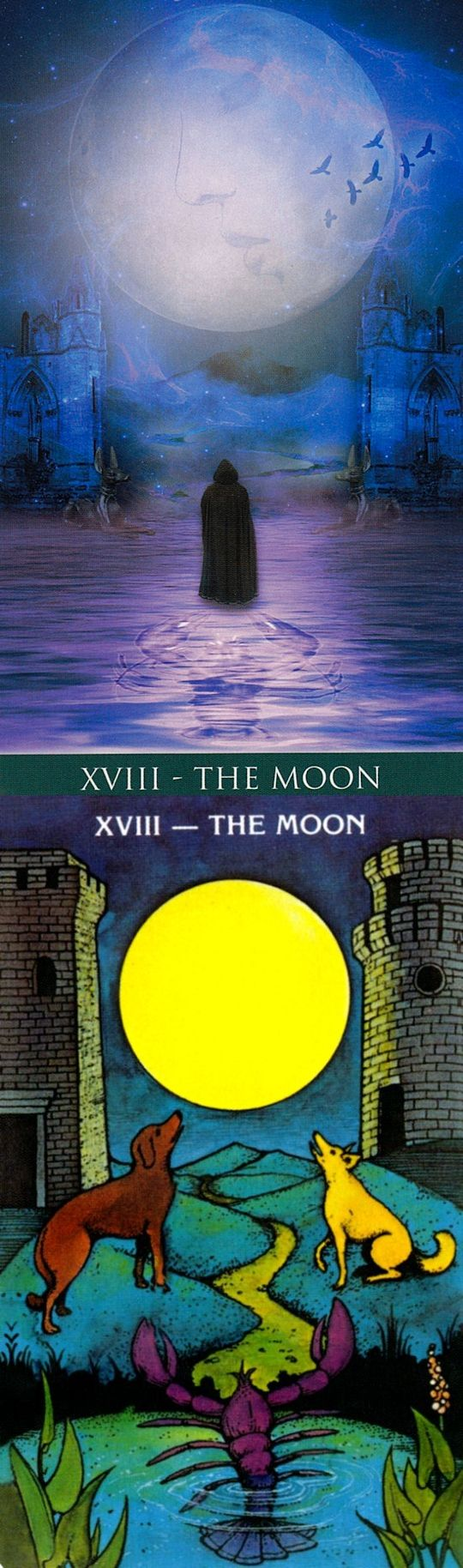 THE MOON: unconscious and confusion (reverse). Thelema Tarot deck and Morgan Tarot deck: tarotfor beginners, tarot generator vs free daily tarot card reading online. New witch art and paganism beliefs. #halloweenparty #temperance #Wiccan #tarotcardsforbeginners