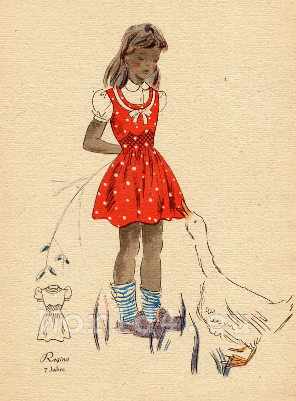 Girl in red dotted dress and white blouse. | Vintage Children Drawing |  Pinterest | Dot dress, Drawing for kids and 1940s dresses
