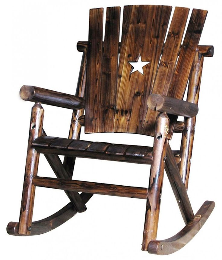 White Star Ornament On Dark Brown High Back Of Rustic Outdoor Rocking Chair Design
