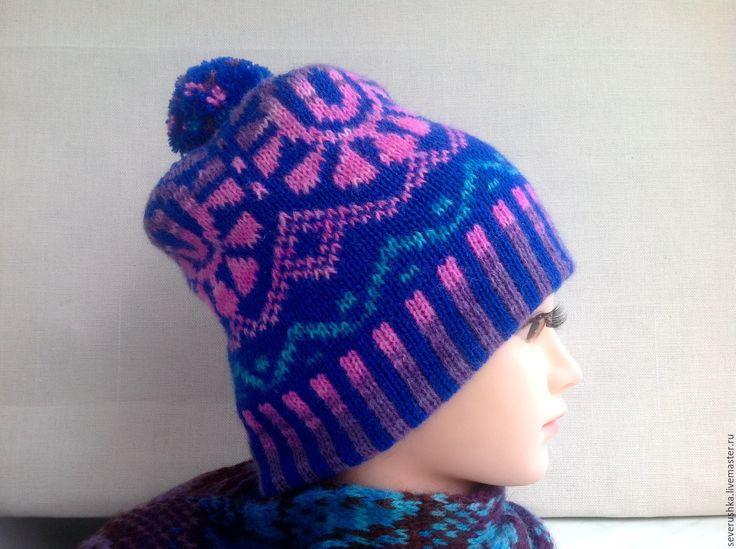 Купить Жаккардовая шапка - комбинированный, орнамент, жаккард, шапка, шапка вязаная, помпон, полушерсть Турция