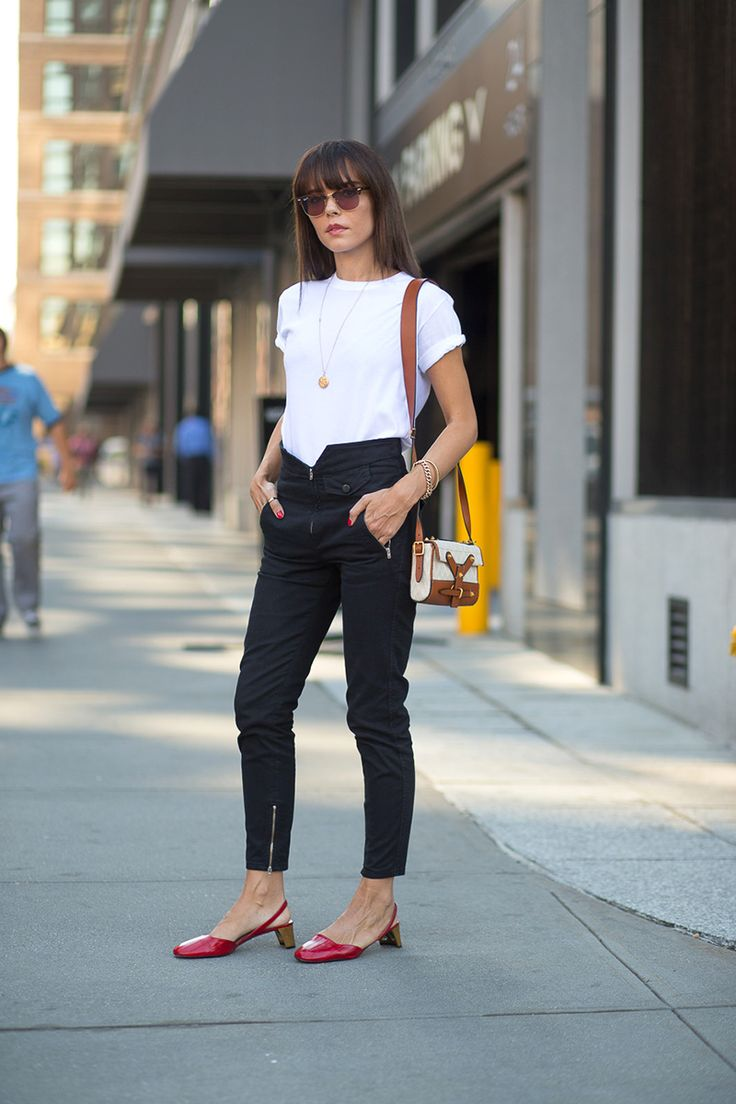 Evangelie Smyrniotaki in Gucci shoes Gucci slingback pumps, $1,200, shopBAZAAR.com.    - HarpersBAZAAR.com