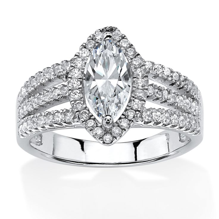Cool  TCW Marquise Cut Triple Shank Halo Engagement Ring in Platinum Over Sterling