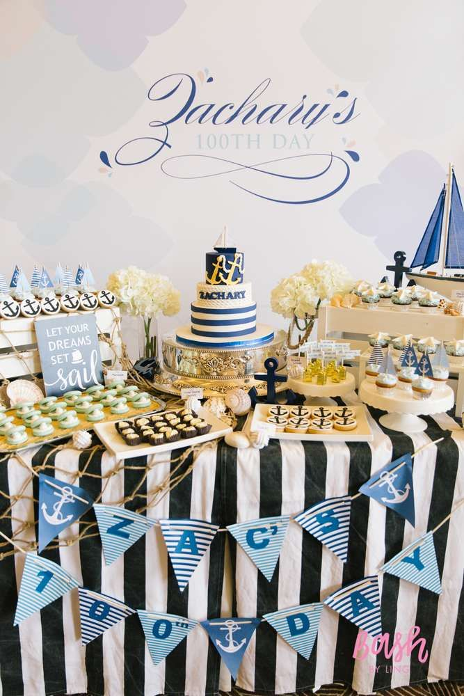 Fantastic dessert table at a nautical party! See more party planning ideas at CatchMyParty.com!