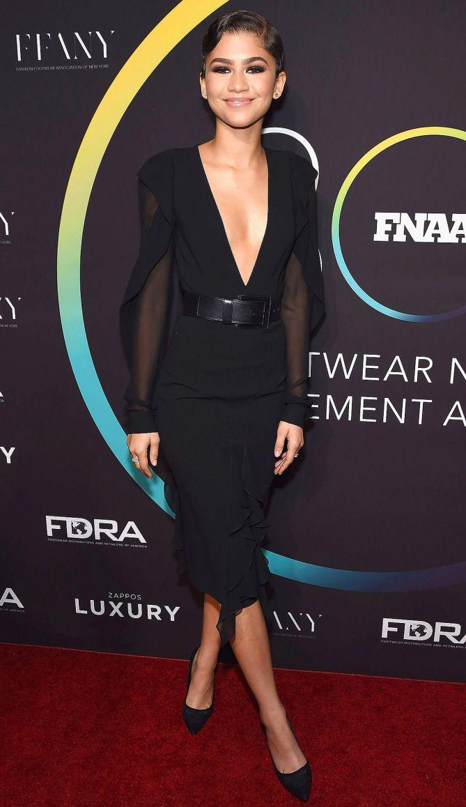 Zendaya in a black plunging Michael Kors dress