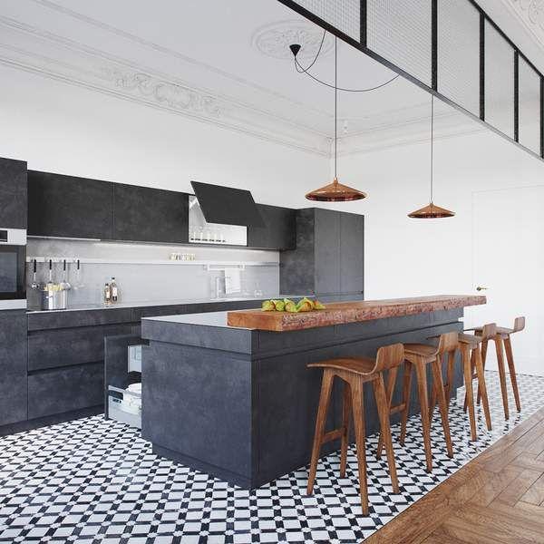 Eine wirklich schöne küche mit einem interessanten farb material und mustermix gestalteteten die architekten von nordes design für eine junge famil