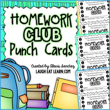 Homework Club Punch Cards!                                                                                                                                                      More