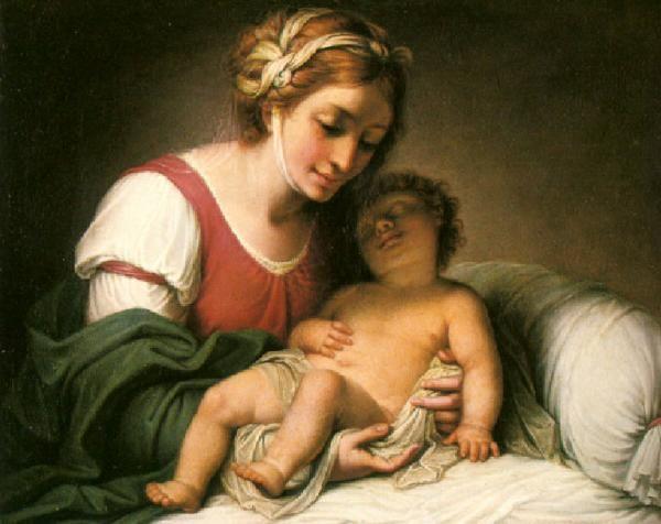 Madonna con elaborata acconciatura di nastri che adagia il Bambino che dorme (Andrea Appiani)