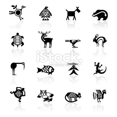 Black Symbols - Indian Tribal Animals Royalty Free Stock Vector Art Illustration
