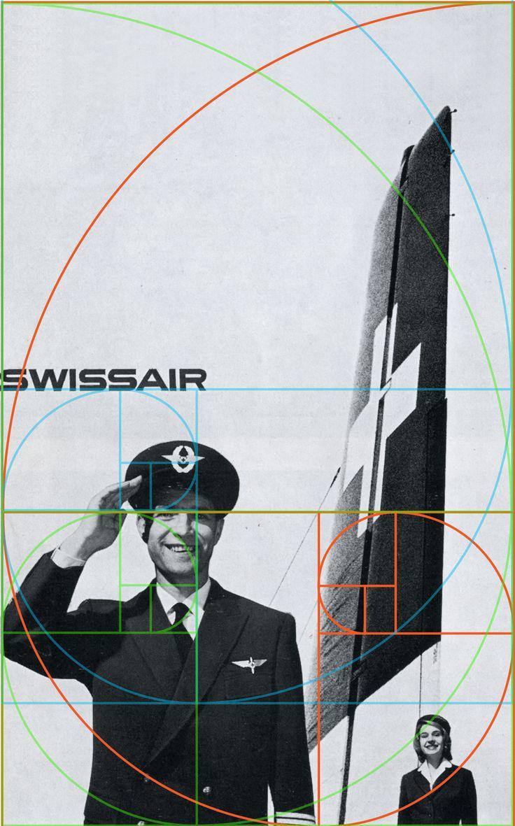 vintage advertising | SwissAir (golden section layout) Brockmann