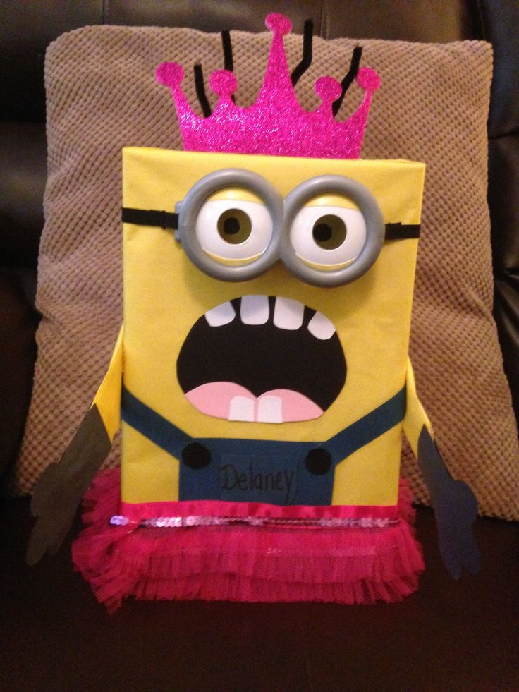ariannas having a minion friendship party at school on thursday find this pin and more on kids valentine boxes - Kids Valentine Boxes