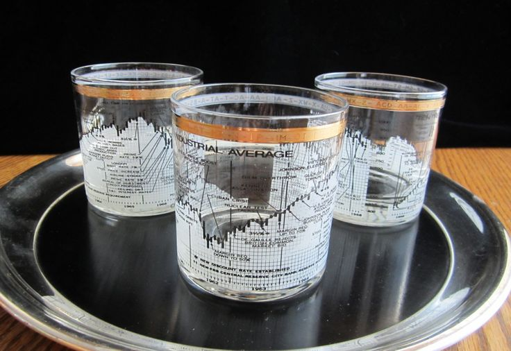Dow Jones Stock Market Lowball Cocktail Cera Gold Old Fashioned Whiskey Glasses Set of 3 Mad Men Retro Barware 8 oz 1958-68 DJIA Collectible by SaltwaterVillage on Etsy