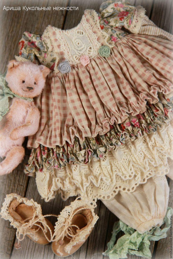 Купить Одежда для кукол , стиль бохо , шебби шик - салатовый, платье для куклы, обувь для куклы