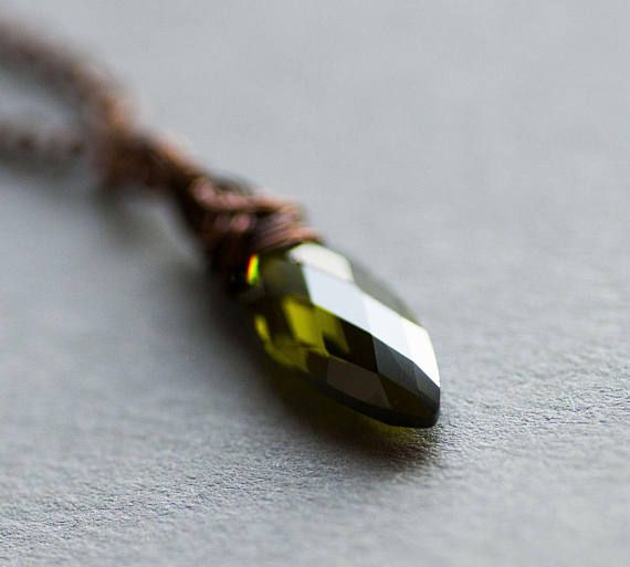 Olive Drop Necklace Green Cubic Zirconia Glamour Necklace