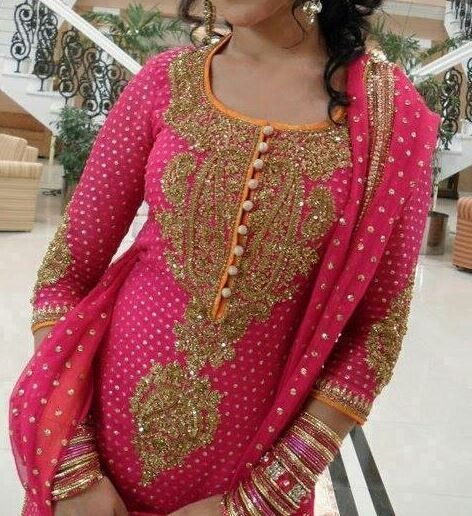 Gold embroidery on pink punjabi suit perfect for weddings
