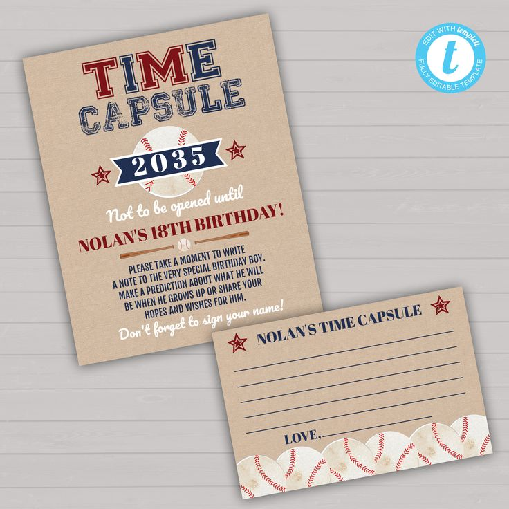 Baseball First Birthday Time Capsule Template