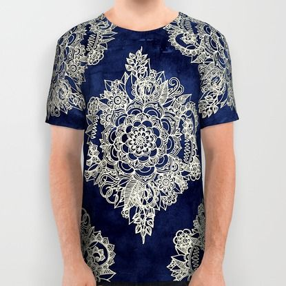 Cream Floral Moroccan Pattern on Deep Indigo Ink All Over Print Shirt