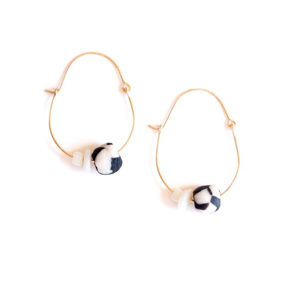 Umbra Earrings - Gold fill hoops with black and white glass beads
