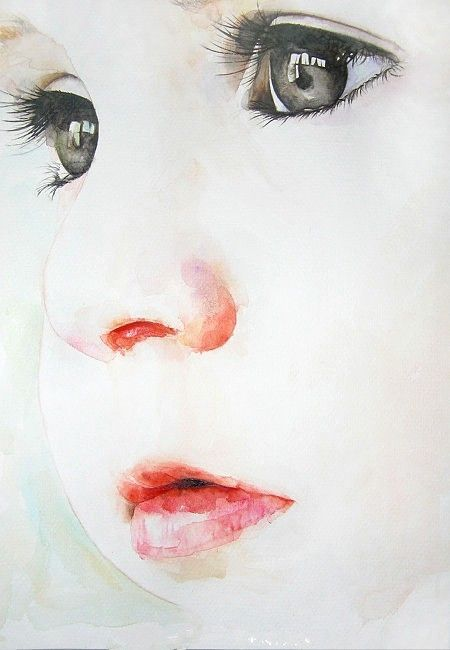 Watercolor painting - with babies and children, it really is what you don't paint that makes the difference.: