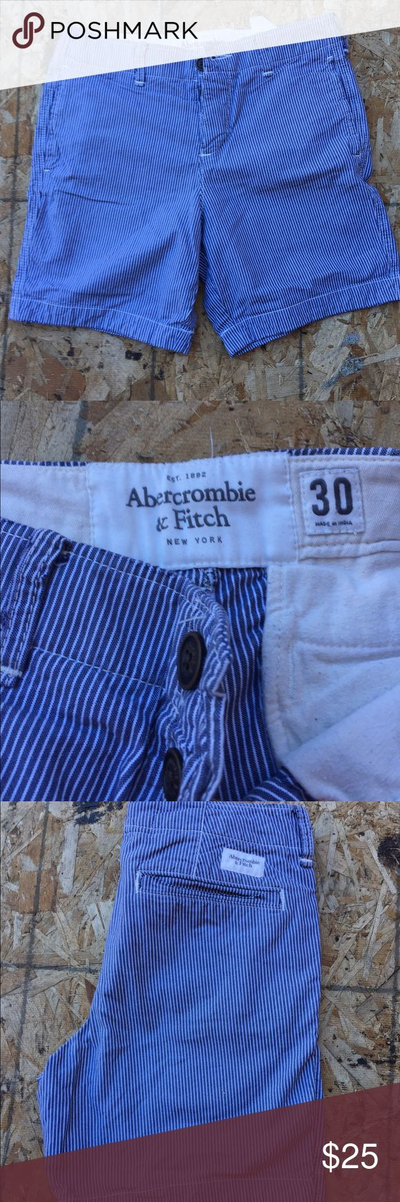 Abercrombie and Fitch shorts/ Chinos  30 Pinstriped white/blue Men's Abercrombie shorts/ Chinos. Mint condition. Only worn once. Abercrombie & Fitch Shorts